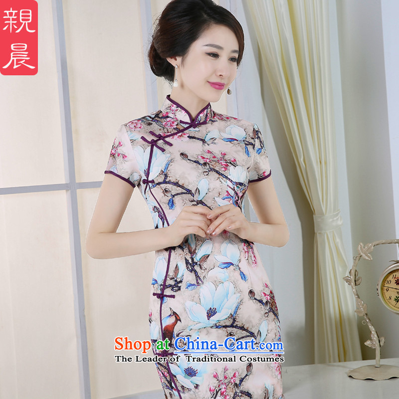 The pro-am daily, the new 2015 improved cheongsam dress summer Stylish retro long short-sleeved cheongsam dress long M