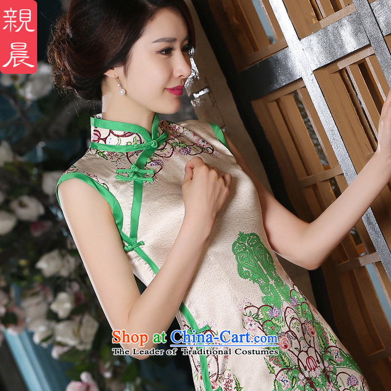 The pro-am daily new 2015 Sau San silk herbs extract retro sleeveless short, improved stylish cheongsam dress short, 2XL