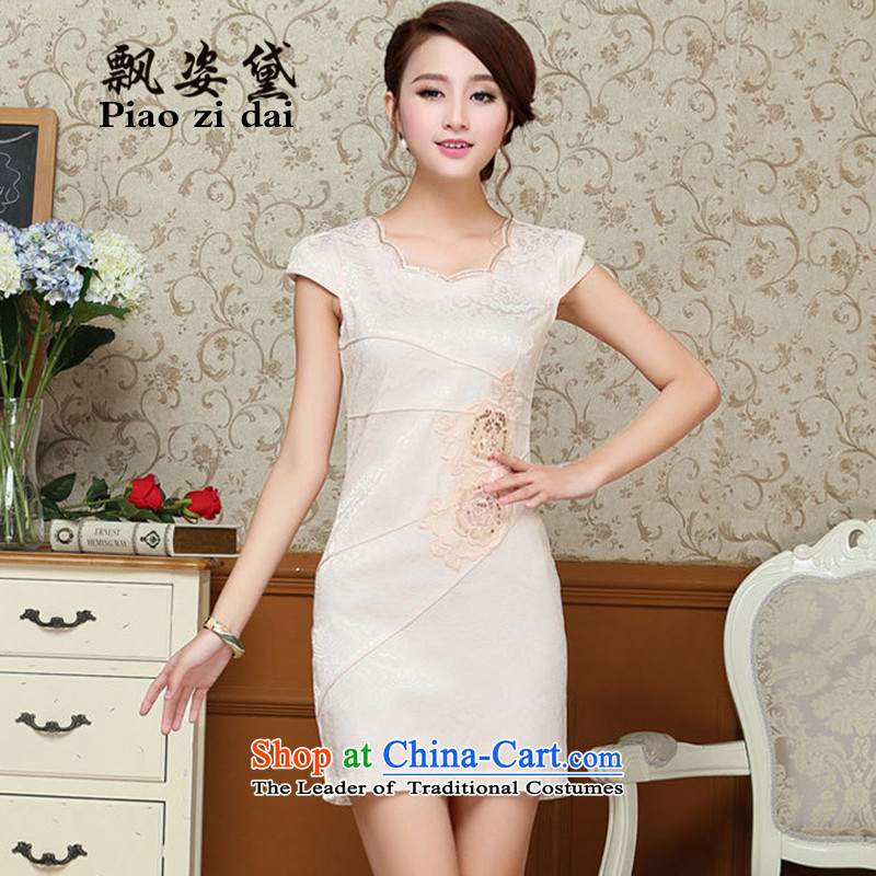 Piao Gigi Lai Chi 2015 Summer new European Women's site Korean Sau San video thin temperament embroidery larger cheongsam dress summer QZ61 light yellow?XXL