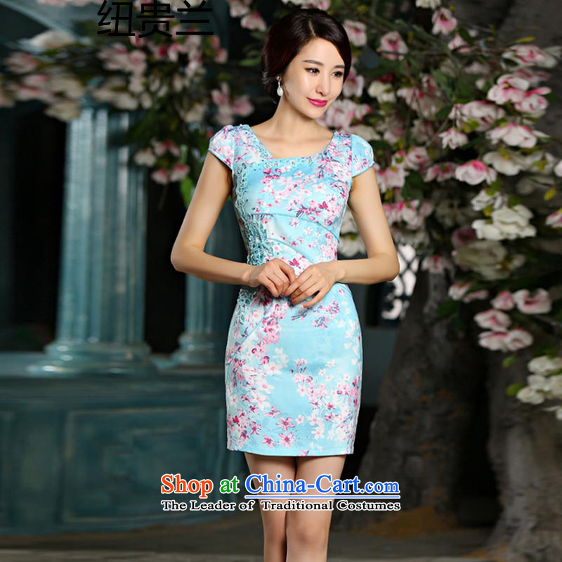 The new summer video thin cheongsam dress circle style improvement Sau San embroidery cheongsam 9022 teal?XXL