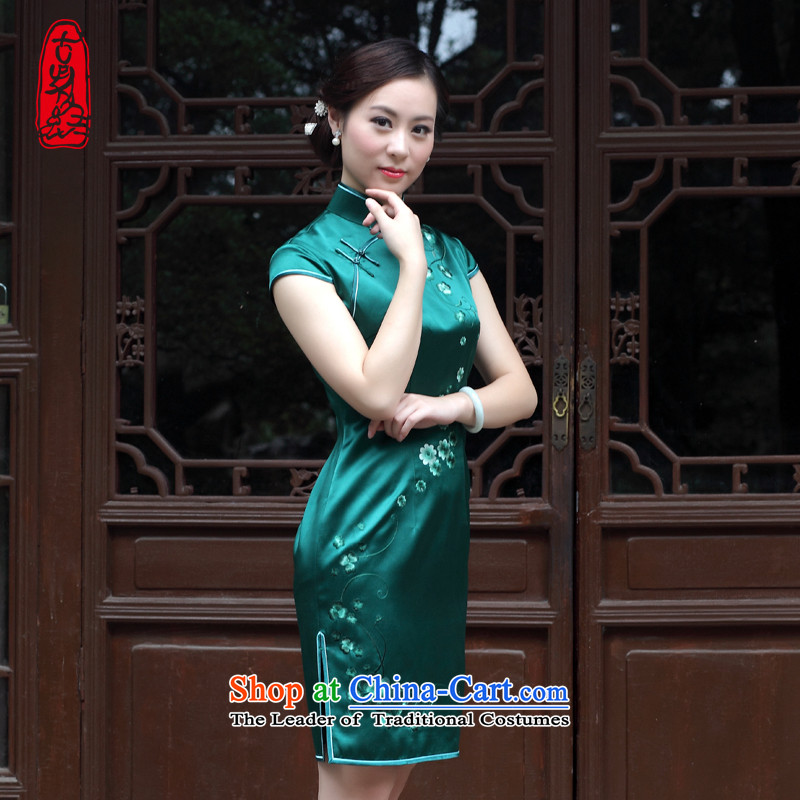 The Wu female red?2015 Summer heavyweight double silk hand embroidery cheongsam Sau San retro for short high-end evening dresses Army Green?M