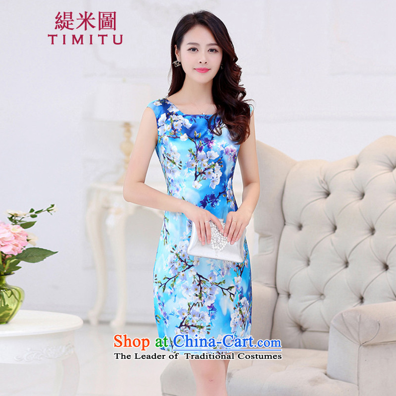 Economy in 2015 Summer figure new women's heavyweight herbs extract stamp Sau San Silk Dresses larger qipao video thin mahogany?M