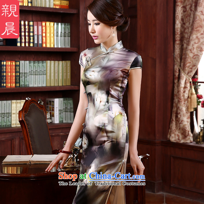 At 2015 new pro-summer retro upscale silk long improved stylish heavyweight herbs extract cheongsam dress long燲L
