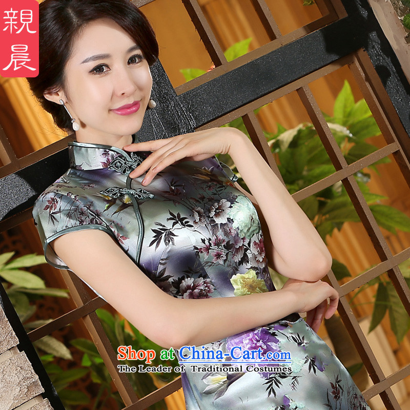 The pro-am new upscale sauna Silk Cheongsam everyday dress 2015 Summer improved stylish silk dresses, short short of female?XL