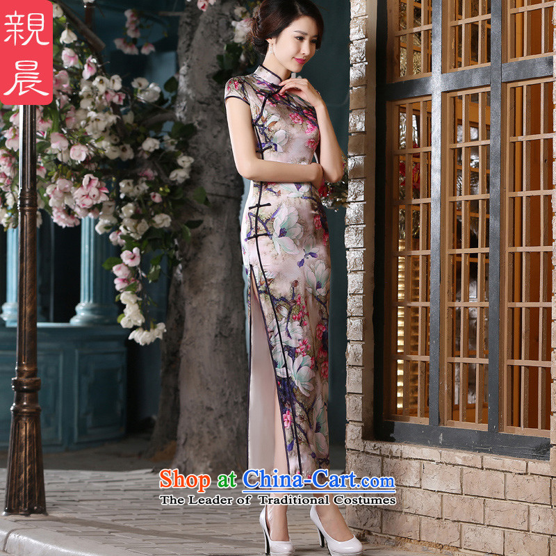 The pro-am retro style improvement of silk Sau San herbs extract long skirt-to-day summer 2015 new cheongsam long L