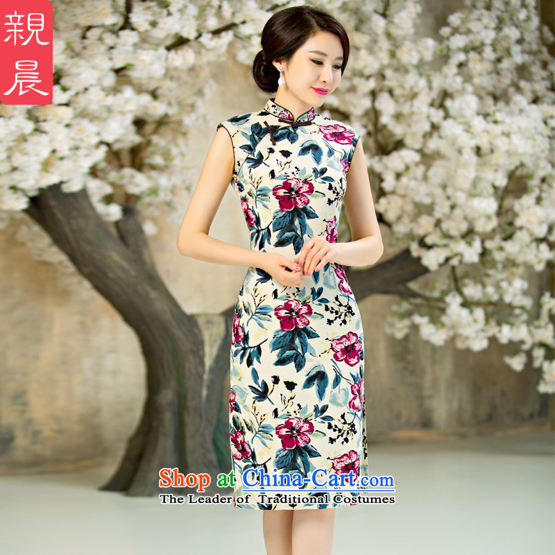 At 2015 new parent cheongsam dress Ms. daily improved Stylish retro short of summer short-sleeved cheongsam dress short,?2XL