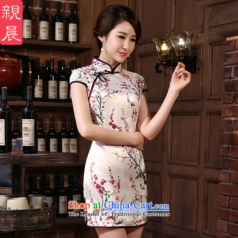 The pro-am Silk Cheongsam 2015 Spring_Summer herbs extract new upscale short of retro style daily short Sau San improvement_聽2XL