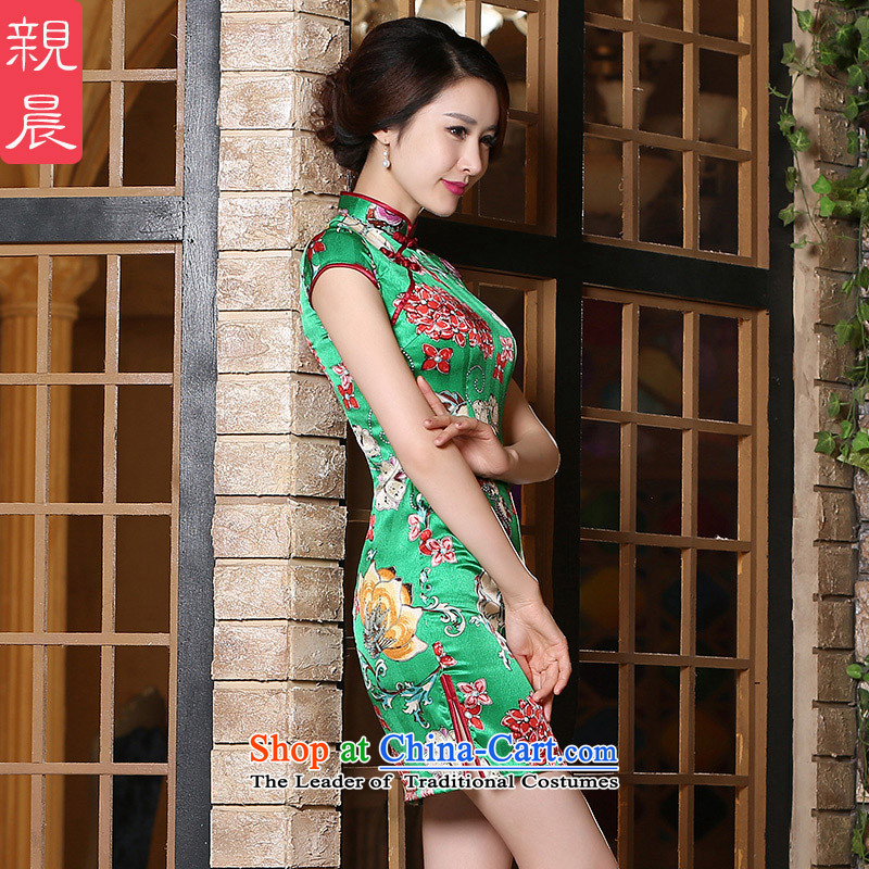 The pro-am new day-to-day summer 2015, improved stylish heavyweight silk upscale sauna Silk Cheongsam Dress Short,?L