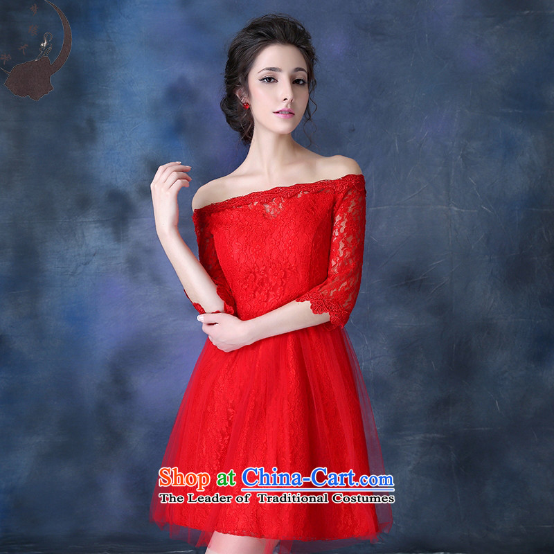 2015 new marriage word qipao shoulder red bows services Fall_Winter Collections bridal lace booking wedding-dress improved qipao 8708 Red tailored
