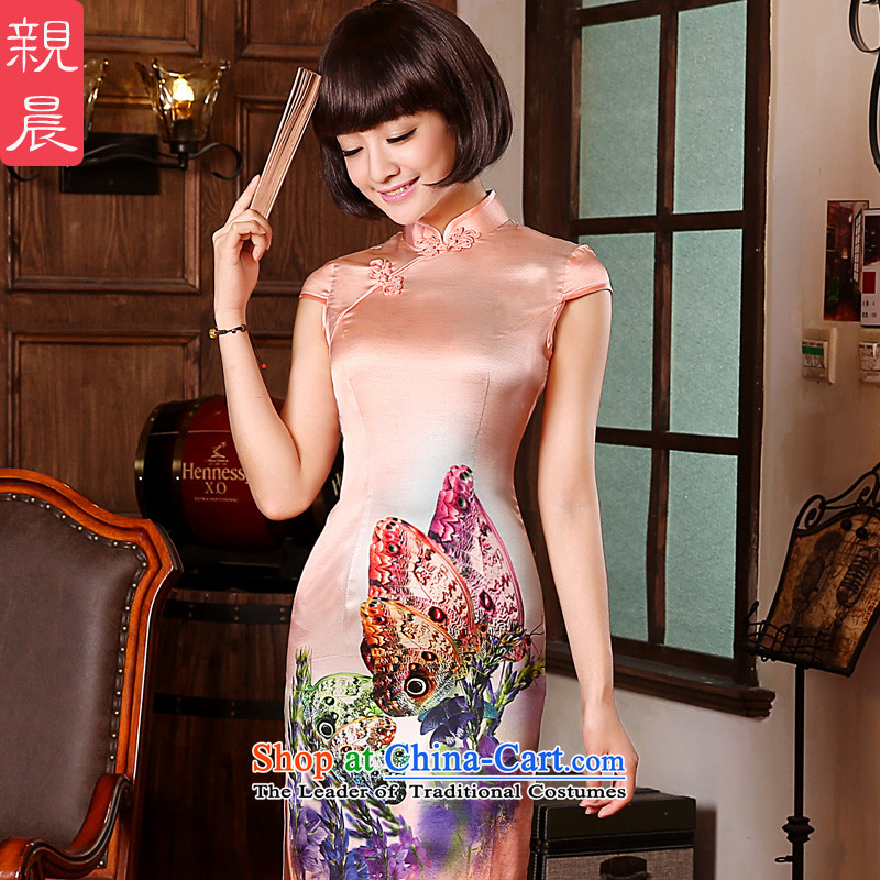 The pro-am Summer 2015 new upscale Natural Silk retro herbs extract Sau San short of Sau San cheongsam dress short,?2XL