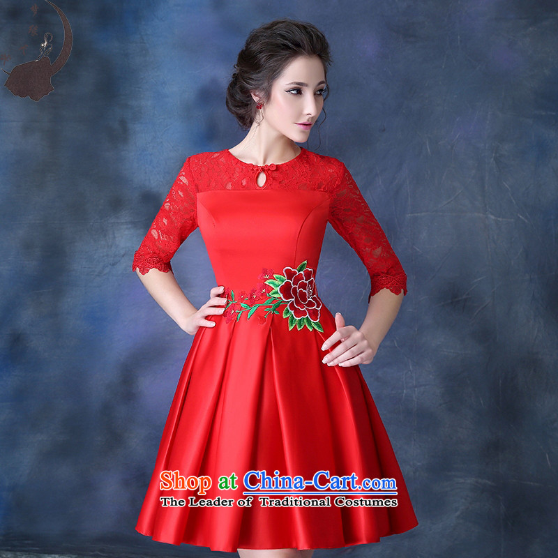 2015 new cheongsam autumn and winter red lace bon bon skirt Dress Short of marriages of bows to the skirt were 8 709 discharges from red S