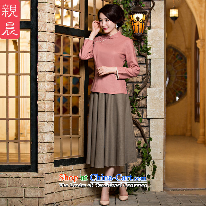 The pro-am cotton Linen Dress Shirt new qipao 2015 Fall_Winter Collections daily female improved stylish Tang Dynasty Chinese Han-skin toner T-shirt + card their skirts聽2XL- seven days of