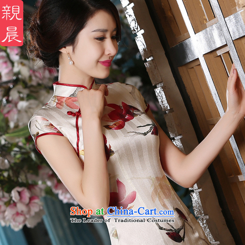 At 2015 new pro-summer silk herbs extract retro style qipao daily improved dresses temperament, 2XL Short Cheongsam