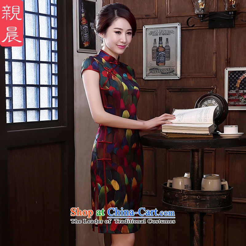At 2015 new pro-autumn day-to-day summer retro silk Sau San short stylish improved herbs extract upscale qipao short, L