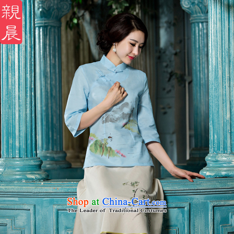 The pro-am cotton linen clothes 2015 new qipao improved couture summer and fall of Tang Dynasty Chinese daily with the skirt A0076-A+P0011 skirt L