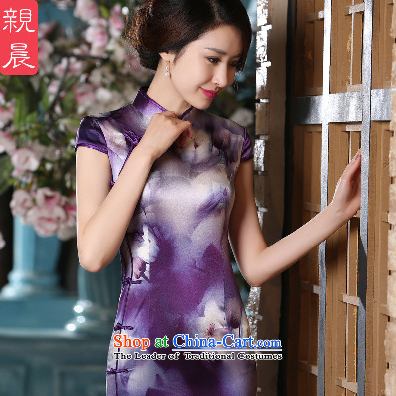 At 2015 new pro-summer stylish improved daily dresses silk herbs extract Sau San retro short-sleeved qipao long?XL