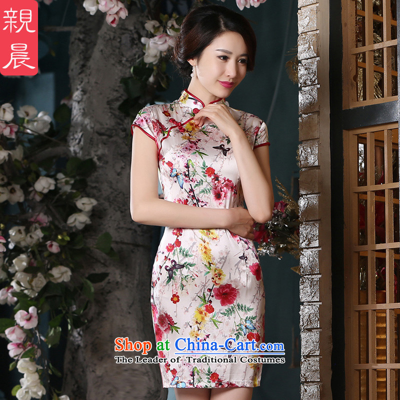 The pro-am Silk Cheongsam 2015 Summer herbs extract retro improvement in women's daily stylish new short, short skirt)?M