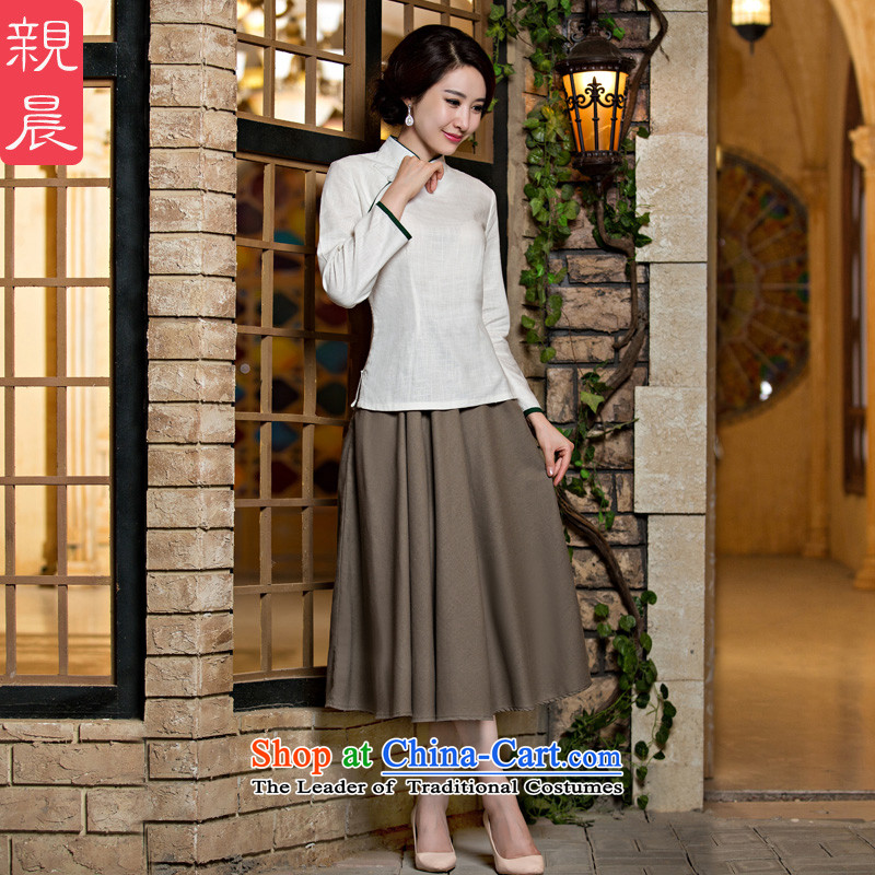 The pro-am qipao shirt new 2015 Han-girl daily Fall/Winter Collections Of Chinese Tang dynasty improved stylish skirt the white field detained + card their skirts XL-seven days of