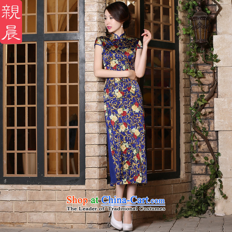 The pro-am daily new 2015 Summer improved stylish long short-sleeved herbs extract heavyweight silk cheongsam dress long聽S
