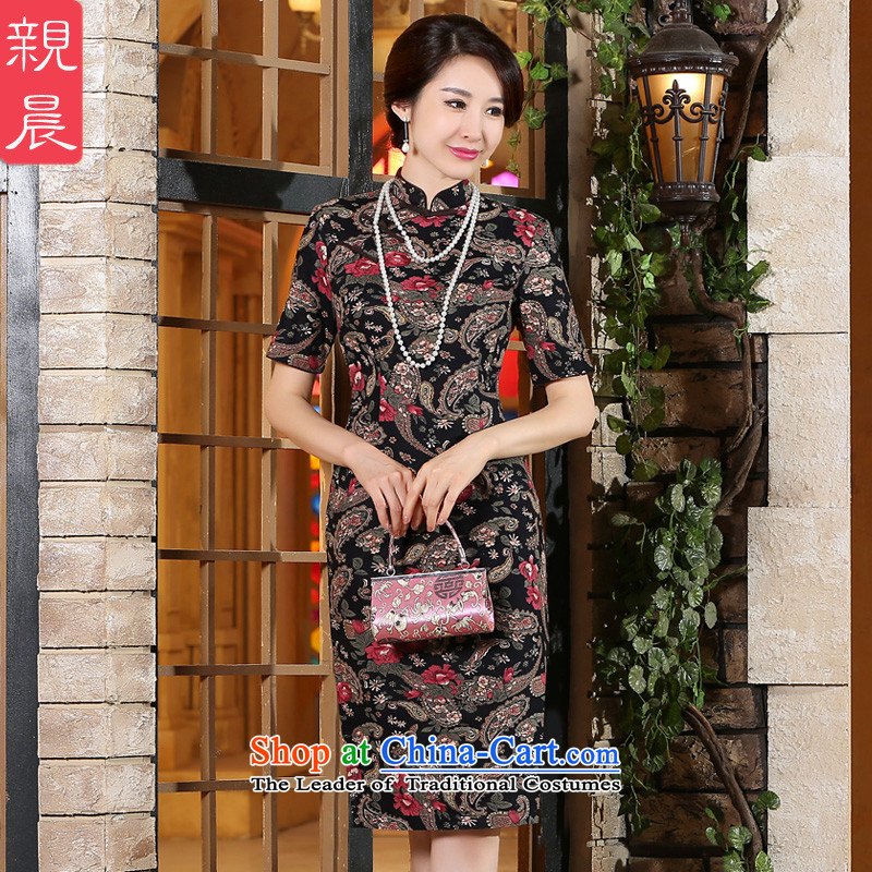The pro-am new cotton linen cheongsam dress 2015 summer day-to-female retro style qipao skirt in improved long suit聽XL