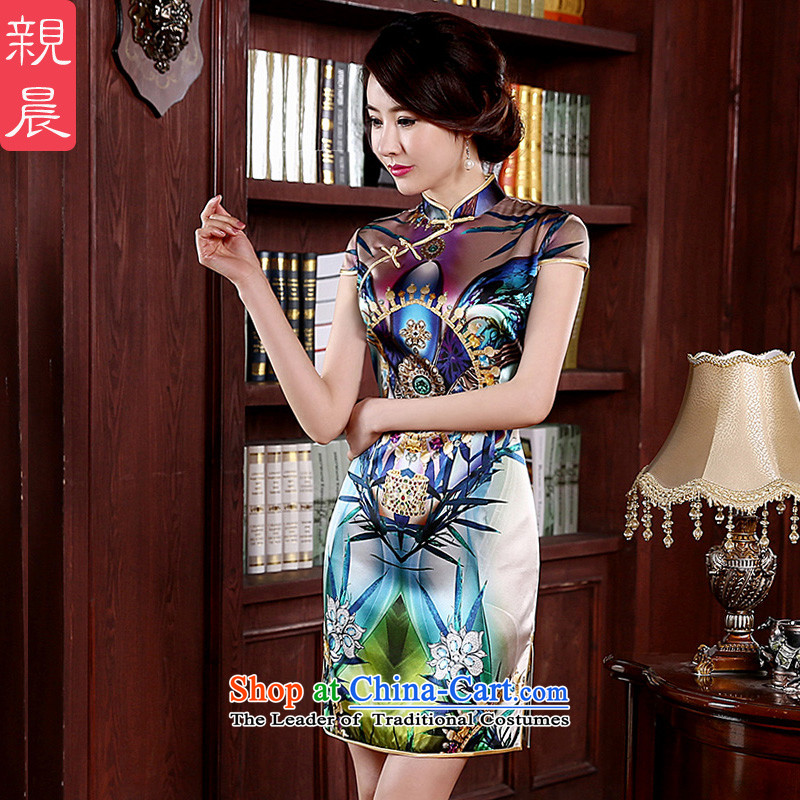 At 2015 new pro-spring and summer herbs extract daily short of Sau San upscale retro Silk Cheongsam short of modern improved燬