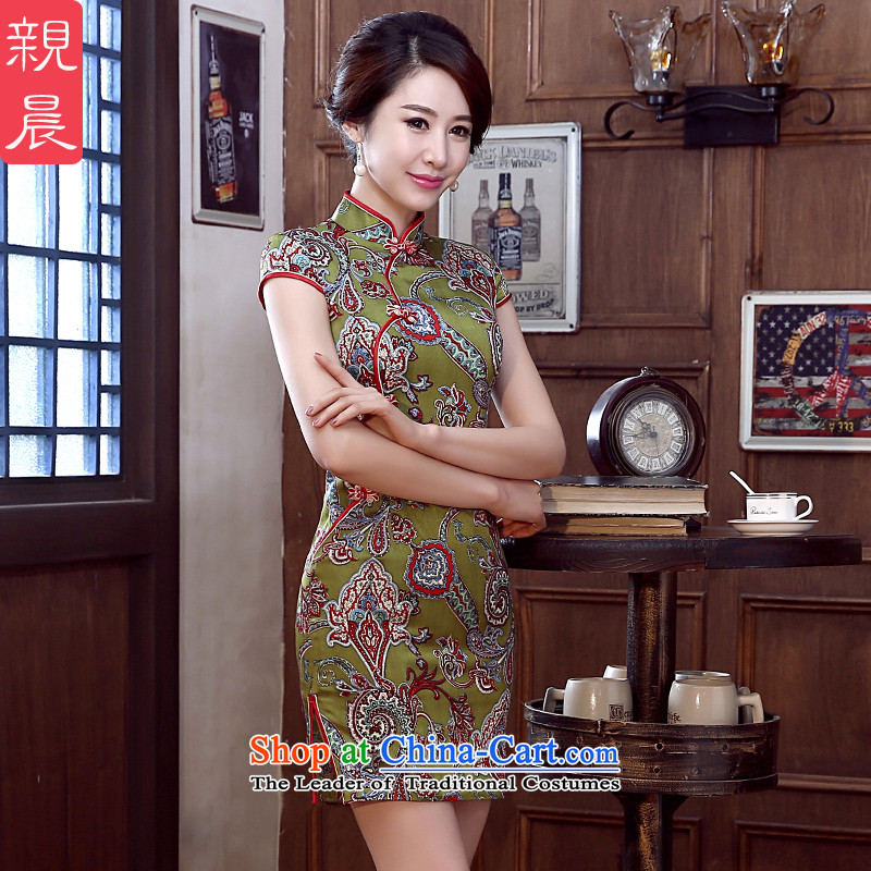 At 2015 new pro-Silk Cheongsam summer short of Sau San daily herbs extract cheongsam dress improved stylish Ms. short,?XL