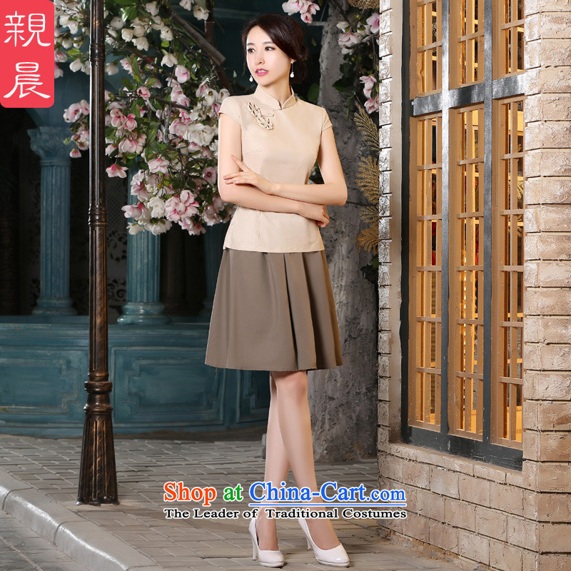 The pro-am new cheongsam short shirts 2015 summer daily improved Stylish retro female cotton linen cheongsam dress shirt + khaki short skirt L