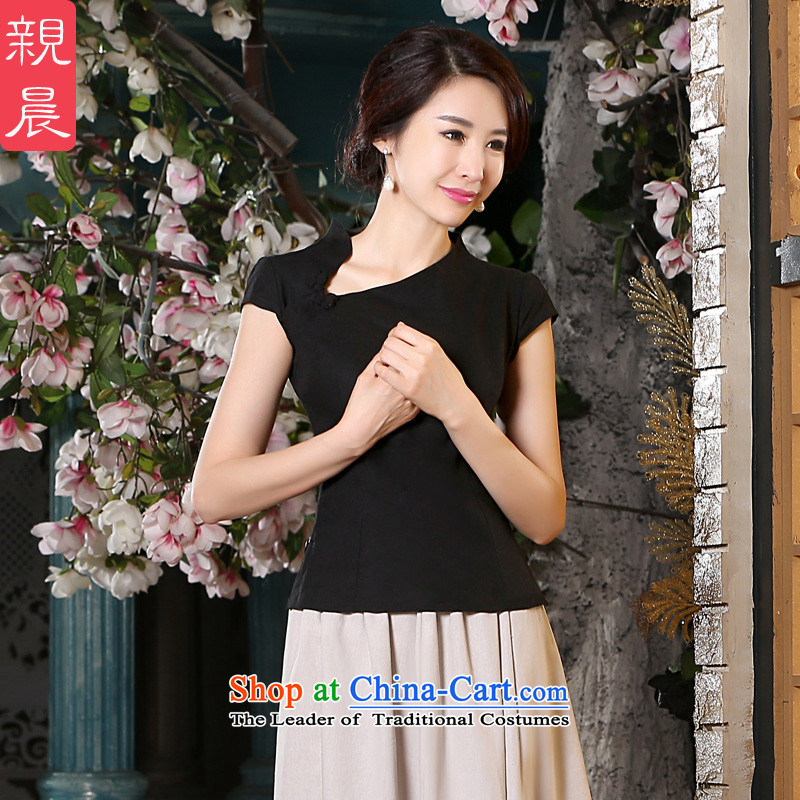 The pro-am cotton linen dresses 2015 new summer of daily improvement of traditional short-sleeved antique dresses kit blouses + beige short skirt?L