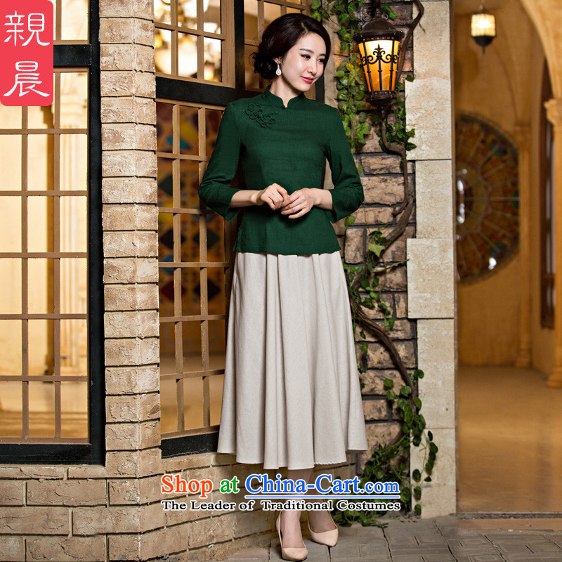 The pro-am Tang dynasty qipao shirt new 2015 Fall/Winter Collections of ethnic Chinese women daily improved stylish Dress Shirt +MU473 skirt S