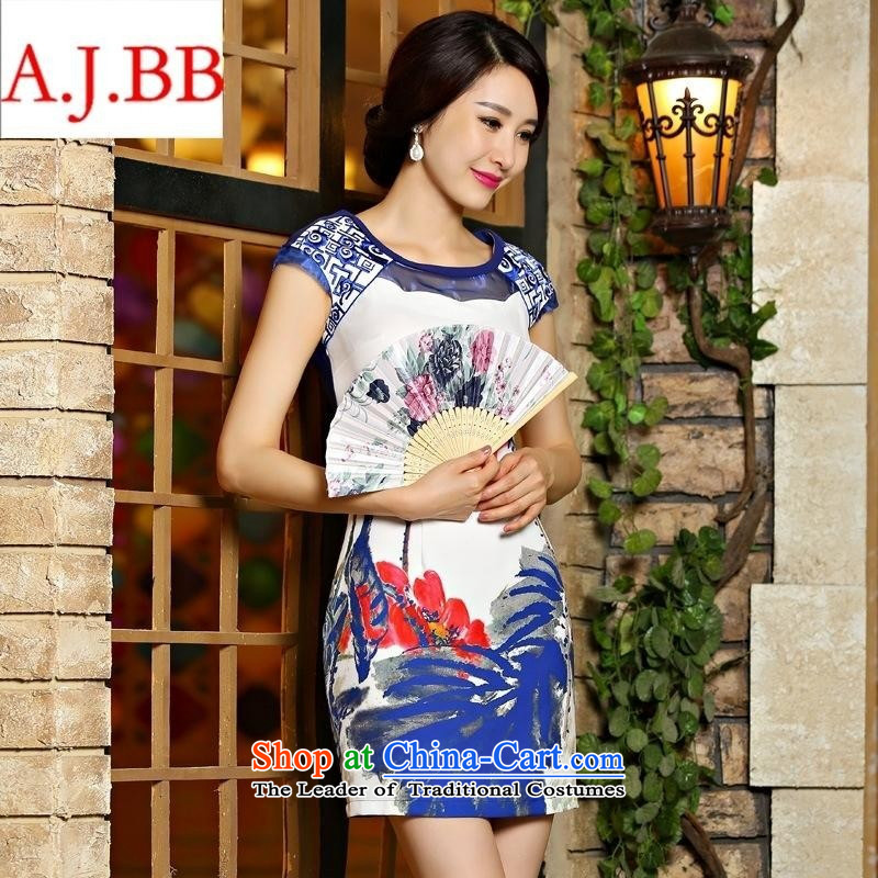 Orange Tysan *9021 Amoi upscale digital printing embroidery temperament Sau San cheongsam dress blue?S
