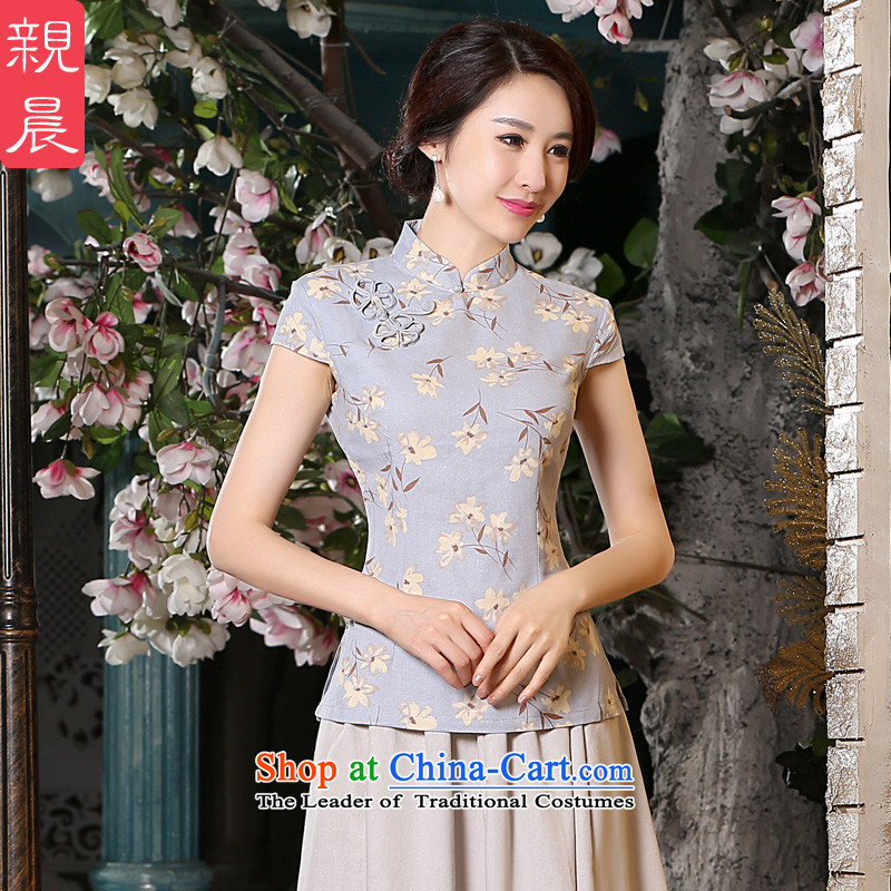 The pro-am cotton linen cheongsam dress 2015 new spring and summer improved retro shirt qipao Sau San dresses summer short-sleeved T-shirt + beige short skirts XL