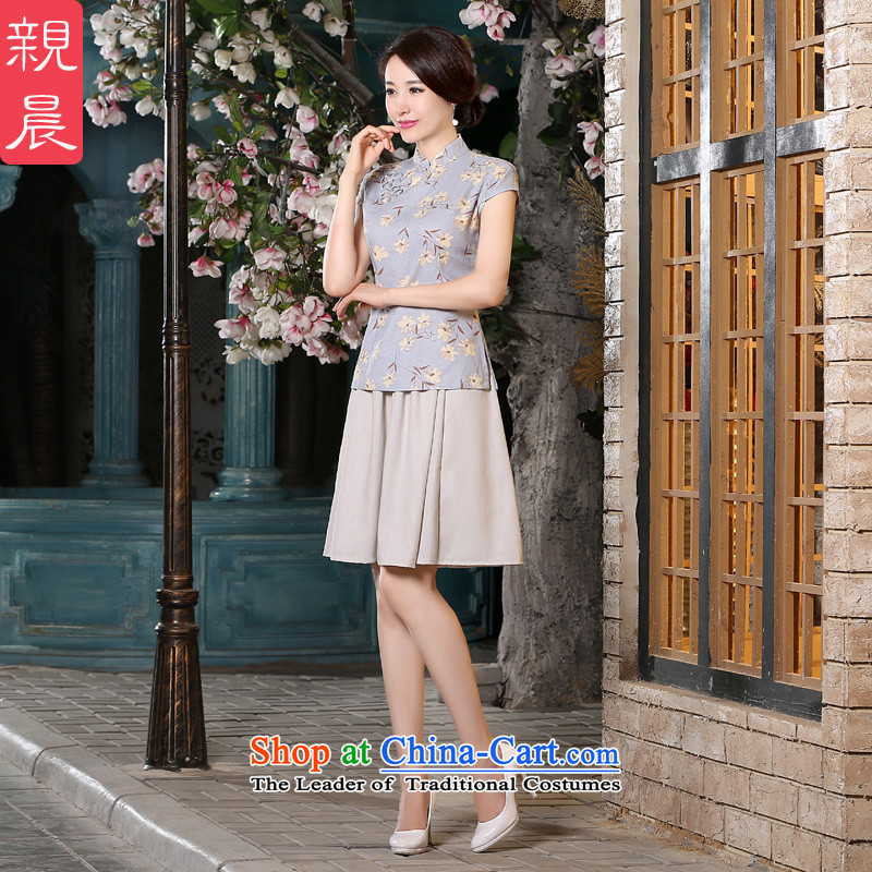 The pro-am cotton linen cheongsam dress 2015 new spring and summer improved retro shirt qipao Sau San dresses summer short-sleeved T-shirt + beige short skirtsXL, pro-am , , , shopping on the Internet