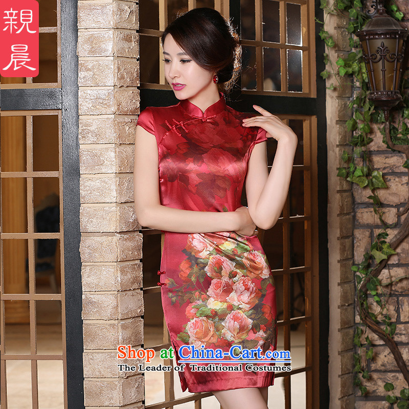 At 2015 new pro-summer daily short, short-sleeved improved stylish girl silk cheongsam dress up the skirt short?M