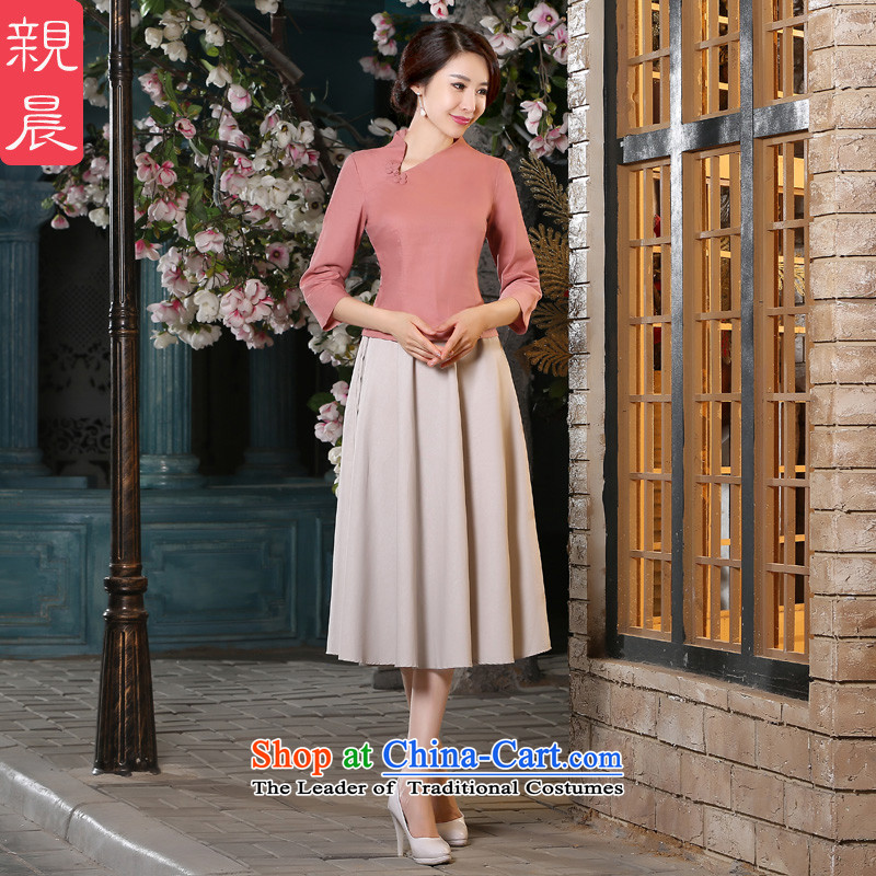 The pro-am new cotton linen dresses short of the summer and autumn of 2015, Ms. replacing retro style daily improved Dress Shirt + in beige skirt?XL
