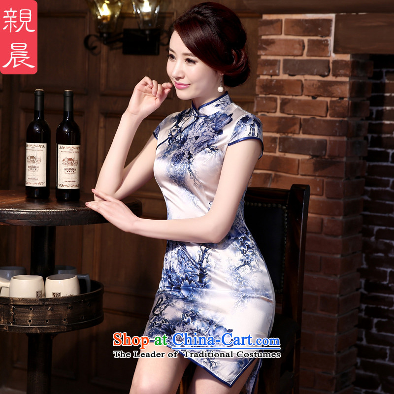 The pro-am silk cheongsam dress 2015 new daily cheongsam dress spring and summer load retro herbs extract improved stylish short,?2XL