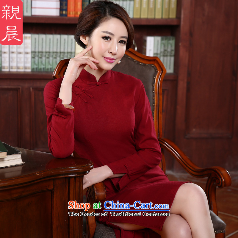The pro-am qipao skirt 2015 Fall_Winter Collections daily new improved long-sleeved Sau San stylish red cotton linen dresses Red?2XL