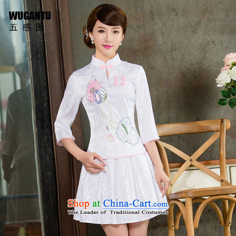 The five senses new cheongsam dress figure improved daily two kits are retro qipao Tang decorated dresses dress in white lotus skirt cuff燣