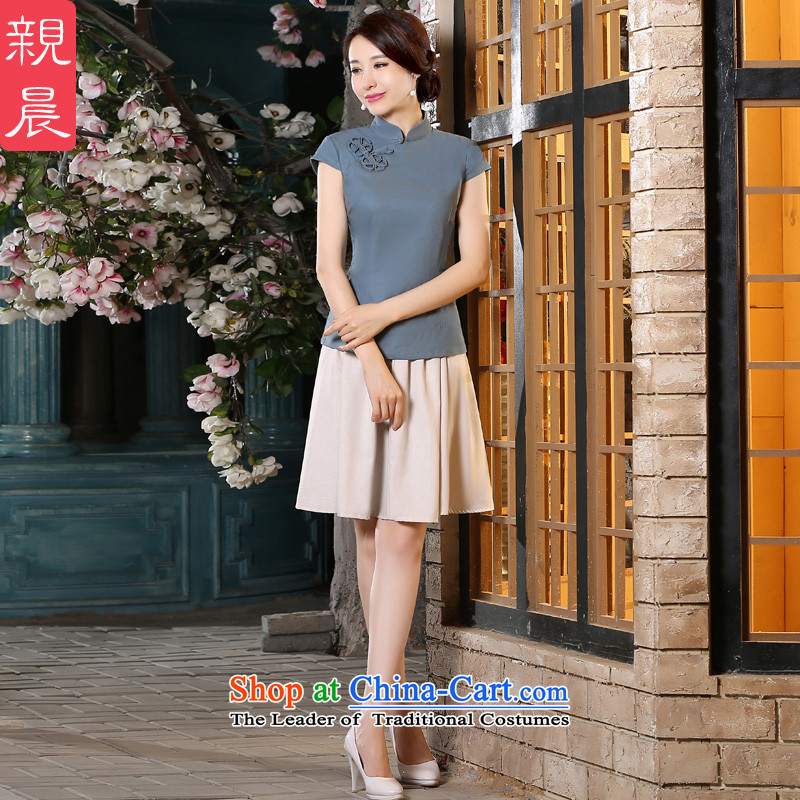 The pro-am new cotton linen cheongsam dress 2015 summer daily retro style cotton linen qipao improved female T-shirt + beige jacket short skirts聽XL