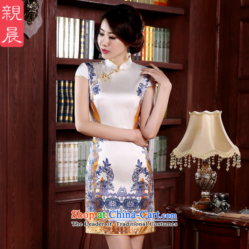 The pro-am daily new 2015 Spring_Summer herbs extract upscale retro short of Sau San improved stylish Silk Cheongsam short, 2XL