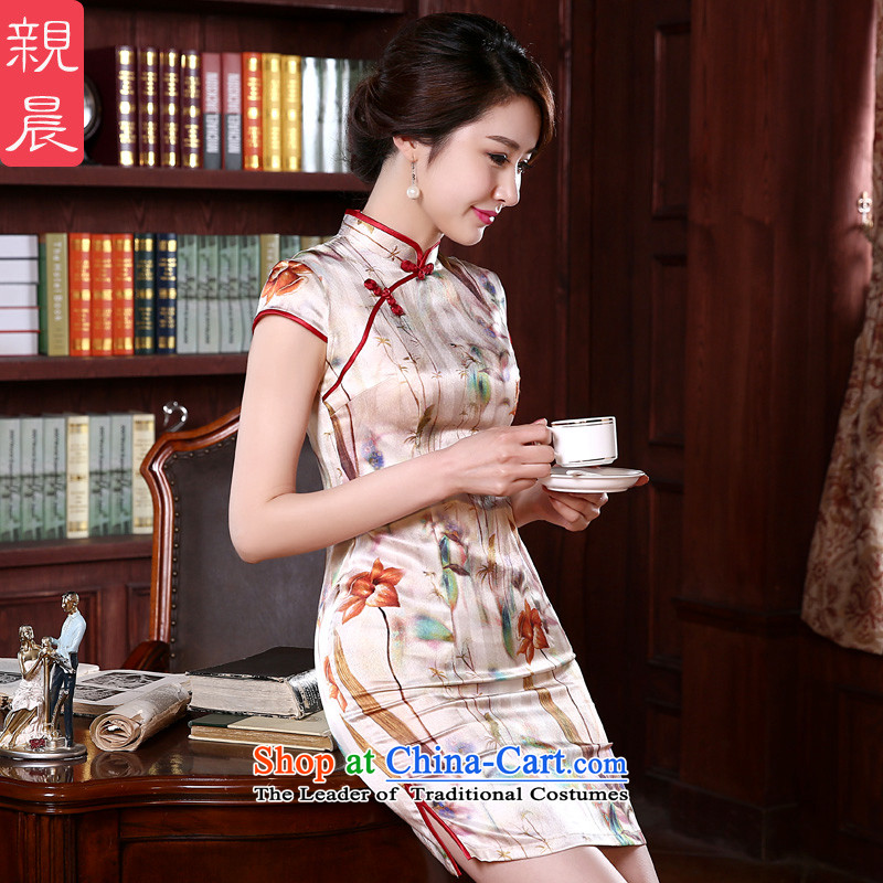 At 2015 new pro-silk cheongsam dress up the skirt of spring and summer load retro herbs extract routine and the relatively short time, improved?3XL
