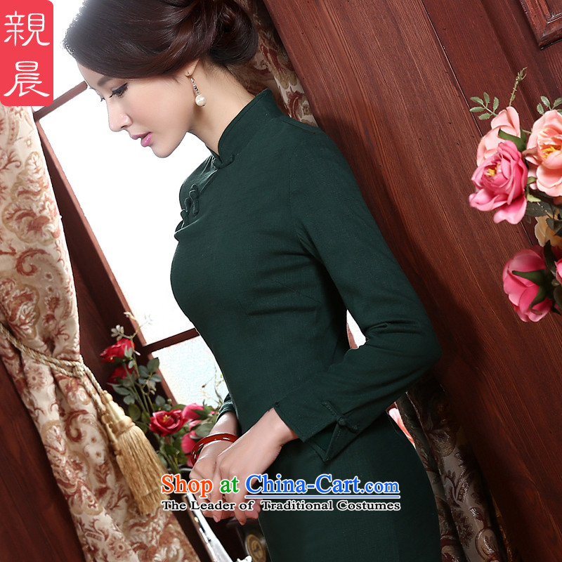 At 2015 new pro-Fall_Winter Collections daily long-sleeved retro improvement by Sau San long qipao cotton linen dresses green燤