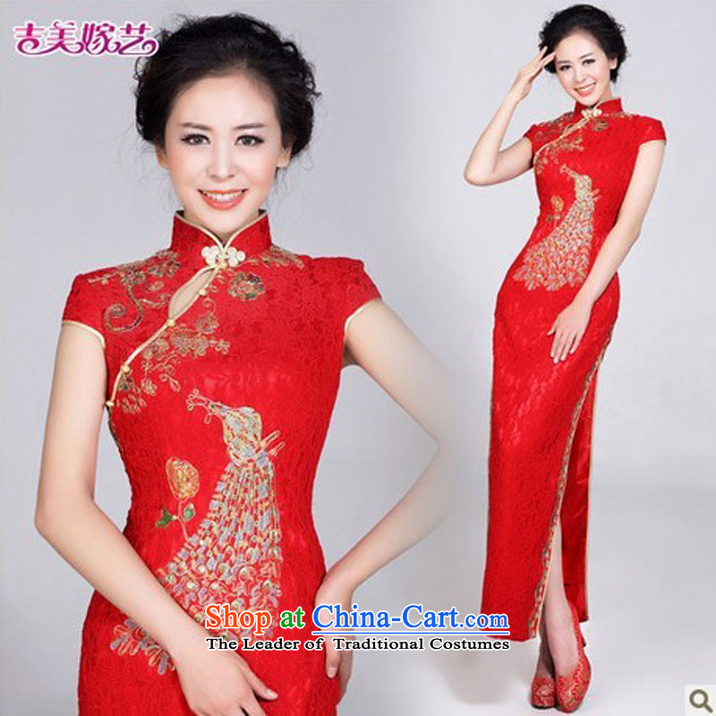 Wedding dress Kyrgyz-american married arts New Package 2015 shoulder CHINESE CHEONGSAM long QP101 bride cheongsam red?S