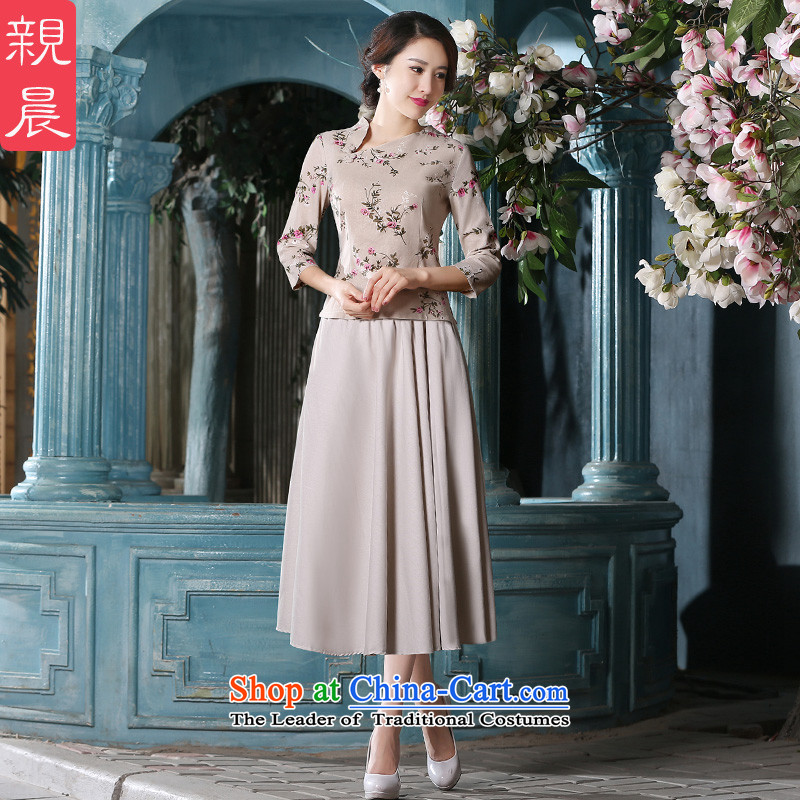 The pro-am qipao shirt new 2015 summer daily retro qipao short, improved cotton linen short-sleeved dresses female 9-sleeved shirt + beige long skirt XL