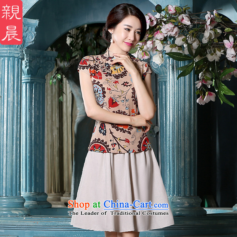 The pro-am Xia cotton linen dresses quarter new linen traditional Chinese ethnic dresses daily improved qipao shirt + T-shirt, beige short skirt?S