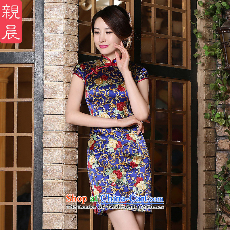 The pro-am daily new 2015 Ms. summer short of upscale contemporary improved silk herbs extract cheongsam dress short,聽2XL