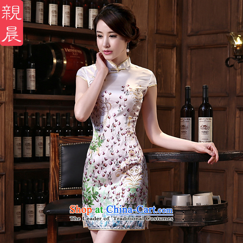 The pro-am daily new upscale 2015 herbs extract retro short, stylish improved in spring and summer Sau San Silk Cheongsam Short M
