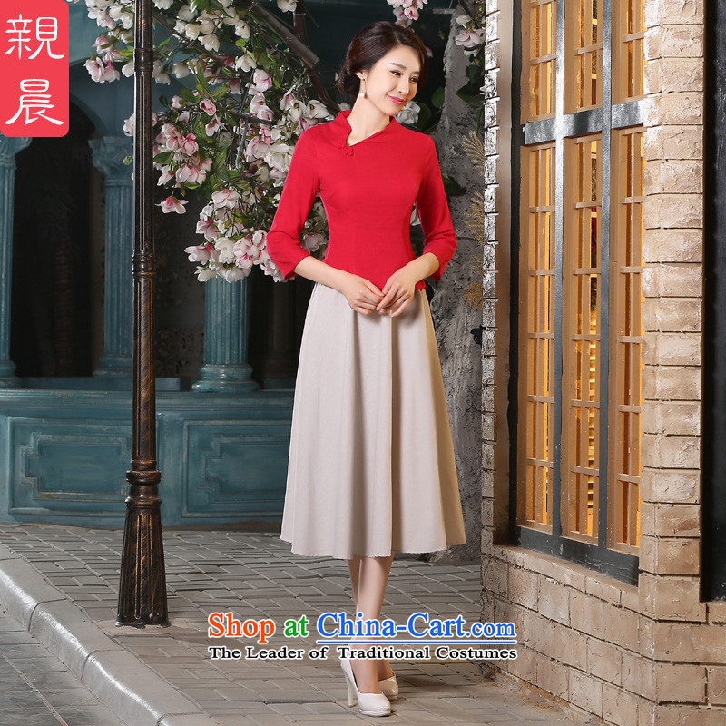The pro-am cotton linen clothes short of Qipao 2015 Fall_Winter Collections New Stylish retro daily improved female Dress Shirt + in beige skirt 2XL