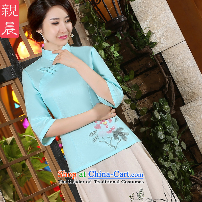 The pro-am cotton linen dresses shirt Fall_Winter Collections new improved daily short of 2015 linen cheongsam dress in kit sleeved shirt +P0011 skirts燲L