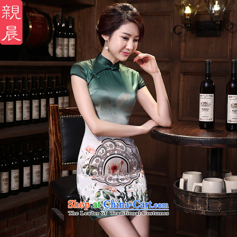 The pro-am Silk Cheongsam 2015 new spring and summer daily herbs extract upscale fashion improved short of Sau San antique dresses short)?3XL