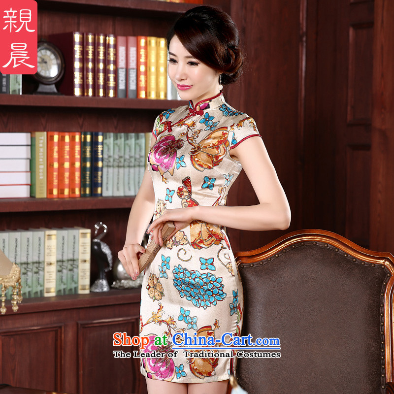 The pro-am new daily qipao 2015 skirt spring and summer load retro short of herbs extract cheongsam dress short of stylish?3XL improvement